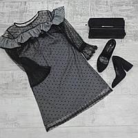 Платье с кружевами горох