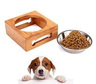 Миска нержавейка для корму котів, собак з бамбукових підставкою, металева миска для Вихованця   %