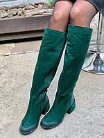 Жіночі замшеві чоботи євро зима смарагдові