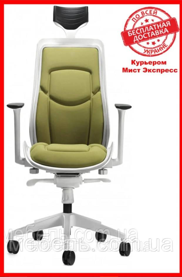 Кресло для работы дома Barsky BFW-03 Freelance White/Green, кресло из ткани, белый / зеленый