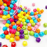 Бусины акриловые разноцветные Октаэдр 8 мм, фото 2