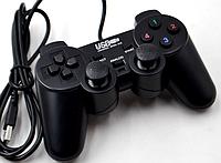 Джойстик проводной USB USB-208 DualShock вибро Черный (R0172)