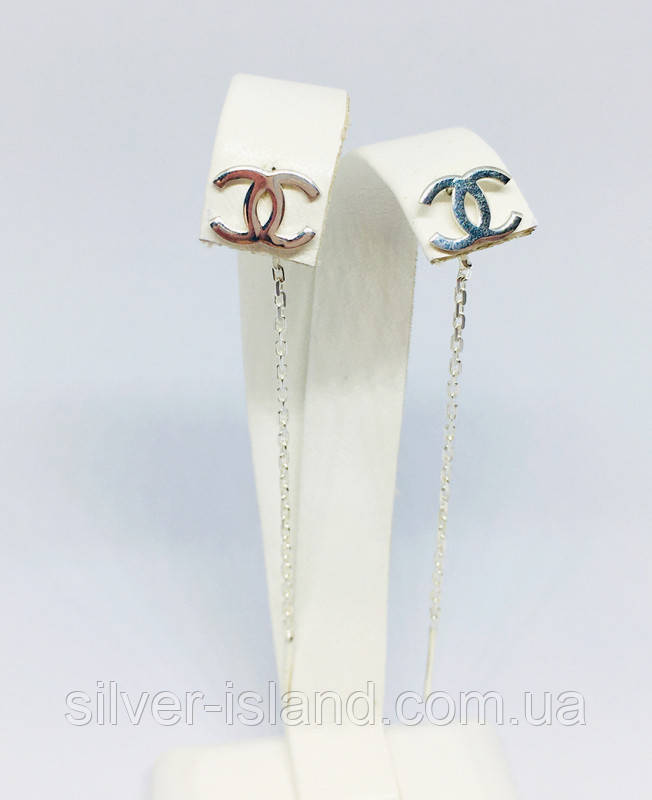 Серьги-протяжки серебро под бренд Шанель