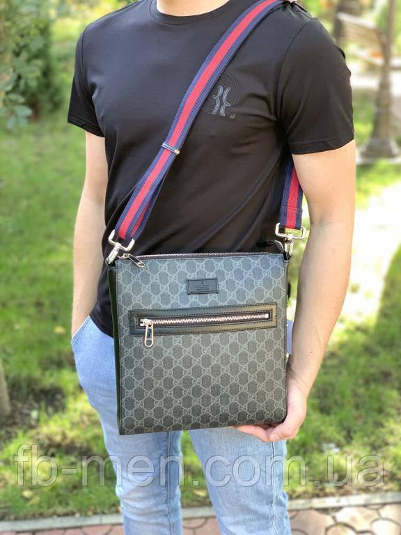Сумка-мессенджер Gucci Supreme с тиграми|Мужская сумка Гуччи серая|Кожаная сумка-планшетка Гуччи мужская