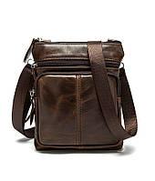 Мужская сумка через плечо Натуральнаяя кожа Барсетка Мужская кожаная сумка для документов планшет Коричневая