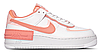 "Женские Кроссовки Nike Air Force 1 Shadow ""Summit White / Pink Quartz - Washed Coral"" - ""Белые Персиковые"""