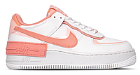 "Женские Кроссовки Nike Air Force 1 Shadow ""Summit White / Pink Quartz - Washed Coral"" - ""Белые Персиковые"", фото 1"