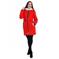 Довга жіноча кашемірова Куртка Парка на еко хутрі з капюшоном.