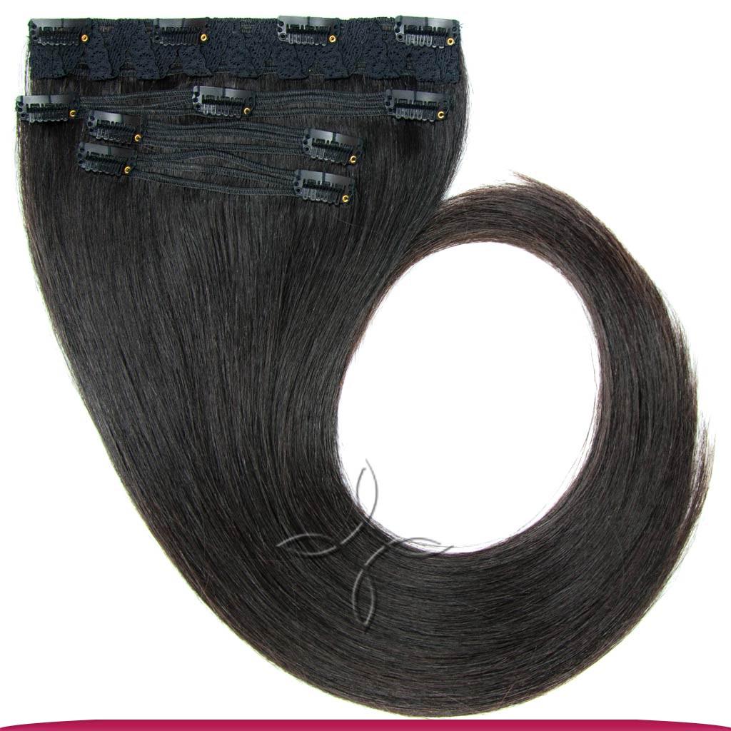 Натуральные Славянские Волосы на Заколках 45-50 см 115 грамм, Черный №1B