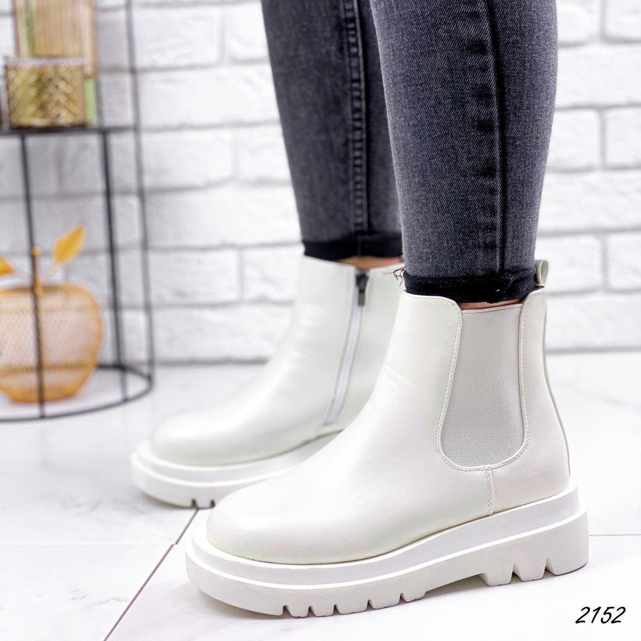Ботинки женские белые, демисезонные из эко кожи. Черевики жіночі білі з еко шкіри утеплені