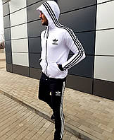 Спортивный костюм Adidas двунитка черный с белым. Спортивный костюм адидас хлопок