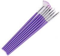 Набор кистей фиолетовый 7 штук