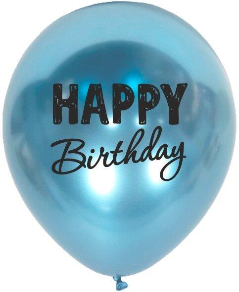 1010 Куля 12/30см Happy Birthday хром синій (Артшоу)