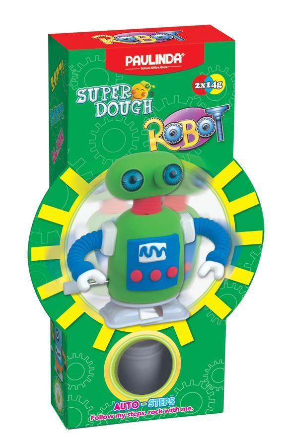 Маса для ліплення PAULINDA Super Dough Robot Заводний механізм Зелений (PL-081178-5)