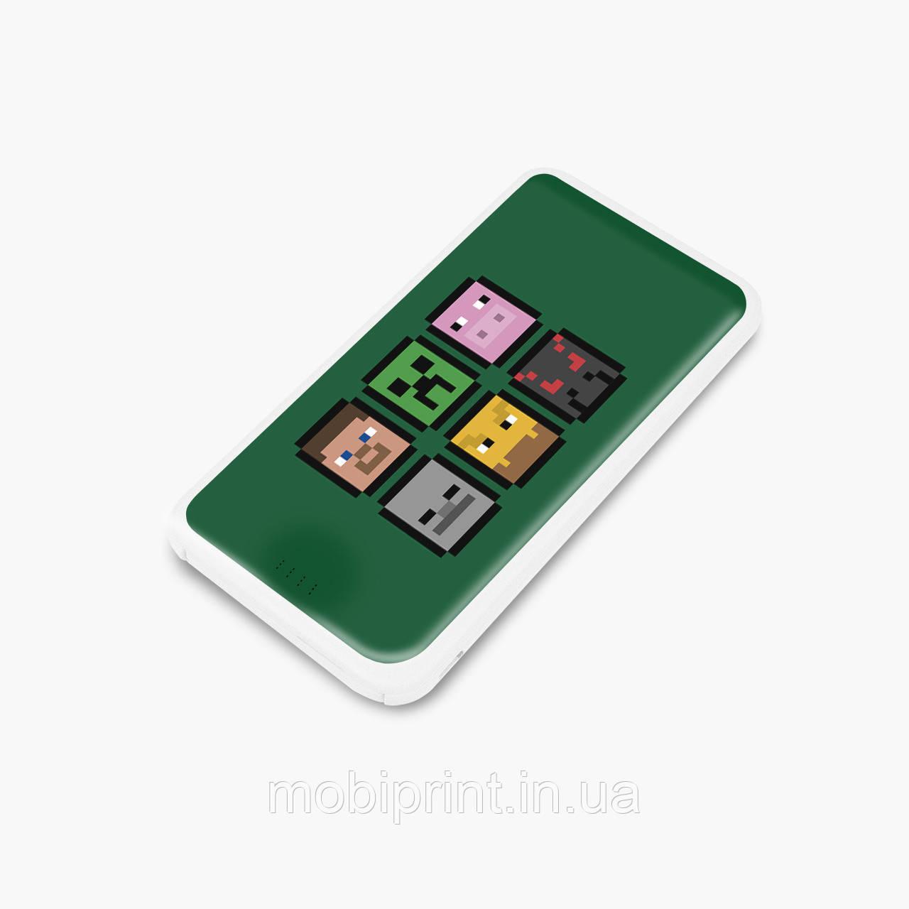 Повербанк (Power Bank) 5000 mAh Майнкрафт (Minecraft) (25938-1173) Белый