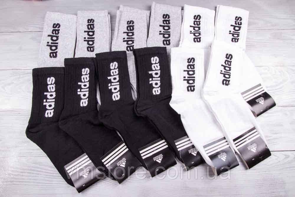 Носки мужские, высокие, копия бренда, Adidas  набор 12 пар