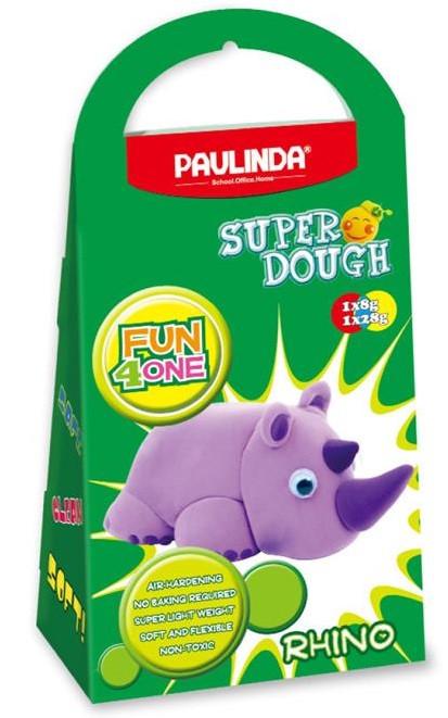 Масса для лепки PAULINDA Super Dough Fun4one Носорог Подвижные глаза (PL-1537)