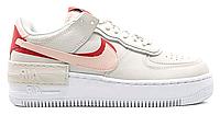 """Жіночі Кросівки Nike Air Force 1 Shadow """"Phantom Eco Pink"""" - """"Білі Сірі Червоні"""", фото 1"""