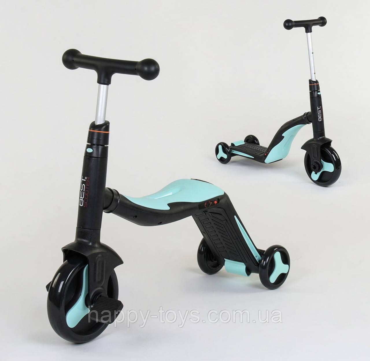 Детский трехколесный Велосипед трансформер 3в1 Голубой Беговел Самокат подсветка музыка Best Scooter JT 20255