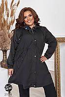 Свободная куртка-ветровка черного цвета с капюшоном. Модель 27099. Размеры 48-66, фото 1