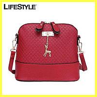 Женская сумка клатч Бэмби / Сумка Бемби Красная  (23 x 20 x 10 см)
