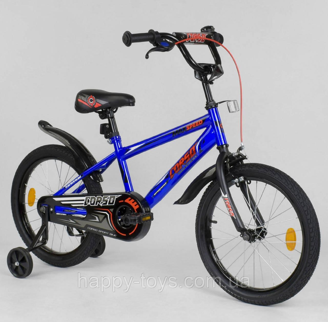 """Велосипед двухколёсный 18"""" CORSO СИНИЙ, СТАЛЬНАЯ РАМА EX-18 N 5509"""