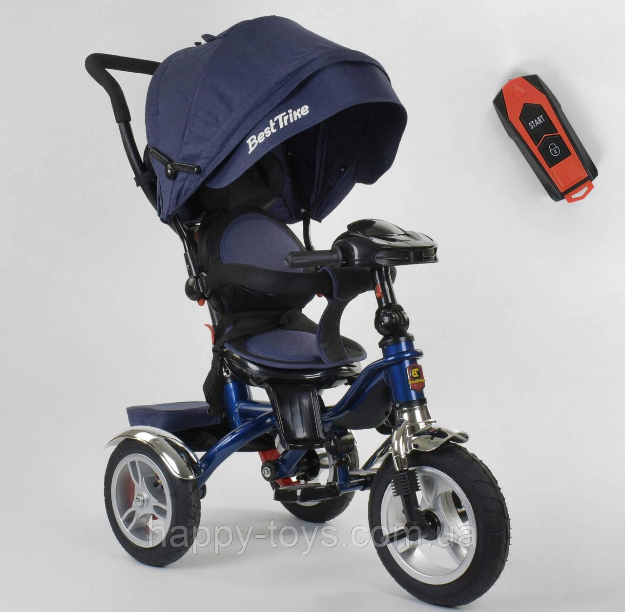 Велосипед трехколесный с музыкальной панелью и пультом, надувные колеса СИНИЙ Best Trike 5890 / 83-067