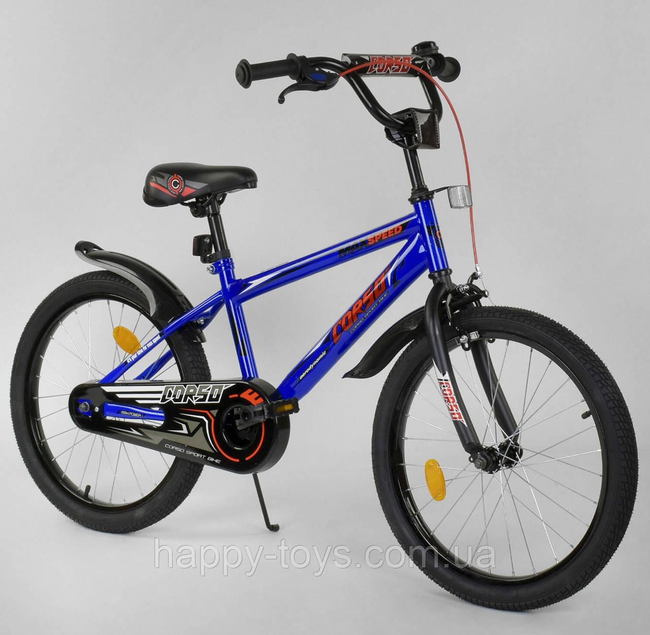 """Велосипед 20"""" дюймов 2-х колёсный CORSO СИНИЙ, ручной тормоз, звоночек, собранный на 75% EX-20 N 2755"""