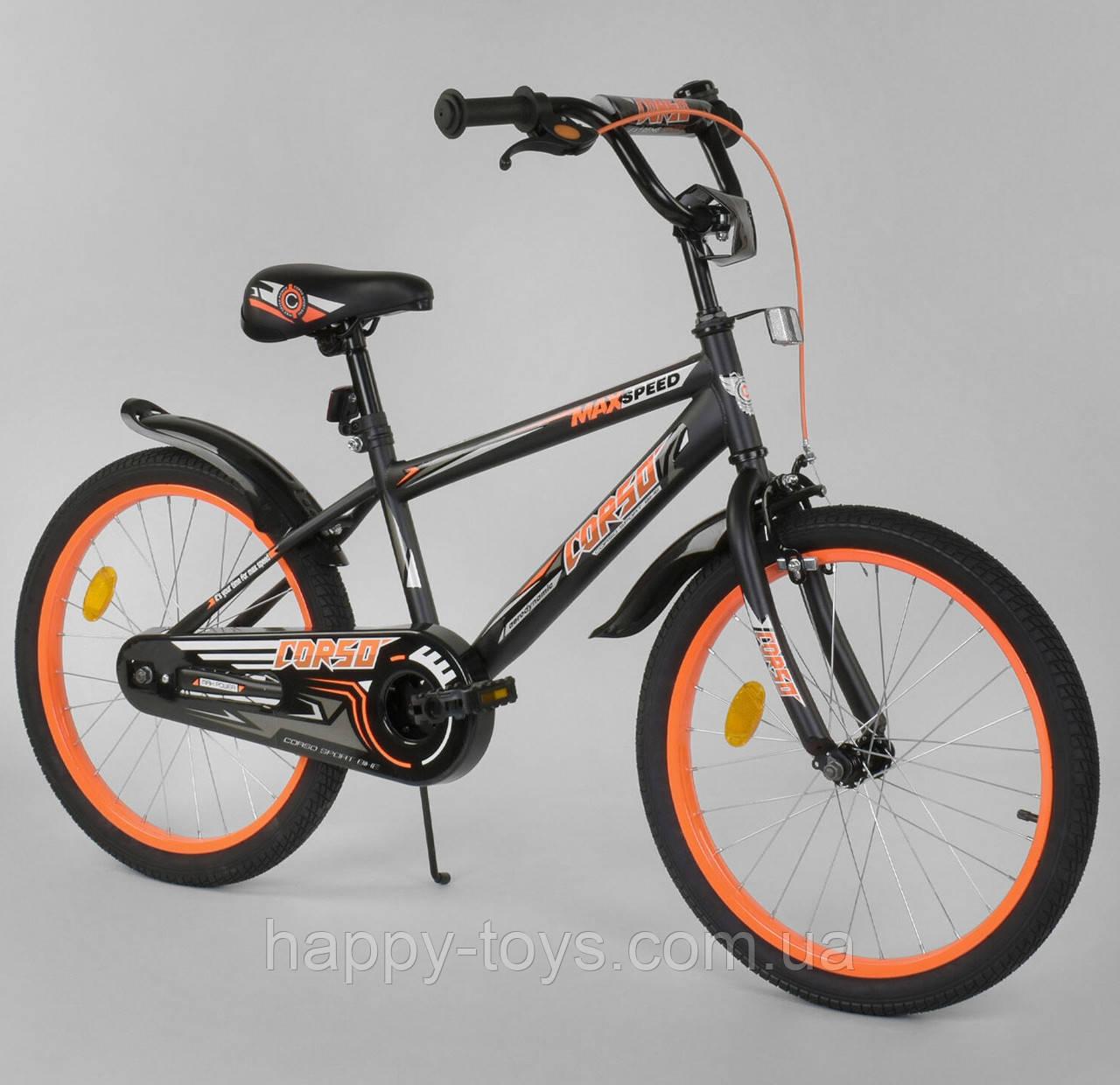 """Велосипед 20"""" дюймов 2-х колёсный CORSO ЧЁРНО-ОРАНЖЕВЫЙ, ручной тормоз,звоночек, собранный на 75% EX-20 N 4588"""