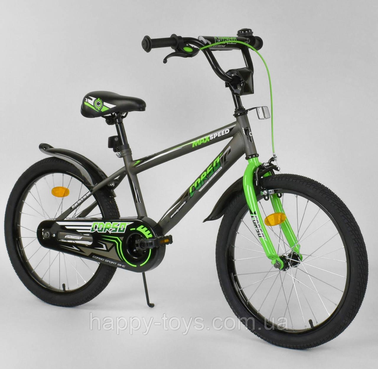 """Велосипед 20"""" дюймов 2-х колёсный CORSO ЧЁРНО-ЗЕЛЁНЫЙ, ручной тормоз, звоночек, собранный на 75% EX-20 N 2955"""