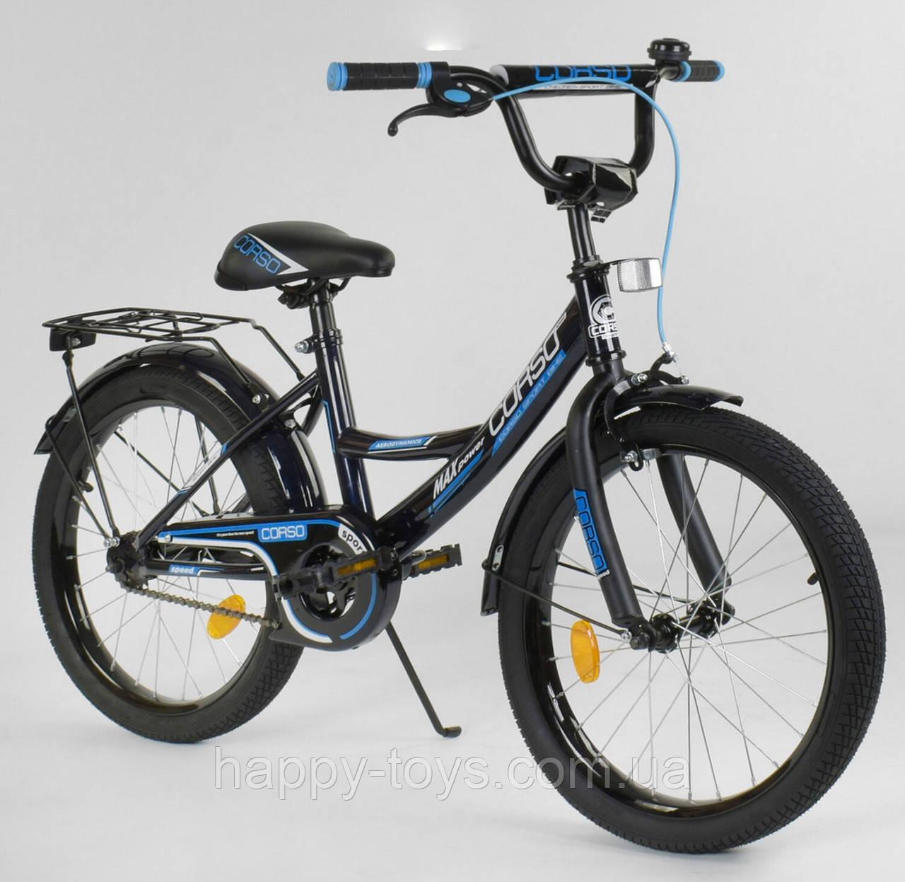 """Велосипед 20"""" дюймов 2-х колёсный CORSO СИНИЙ, ручной тормоз, звоночек, собранный на 75% CL-20 Y 3585"""