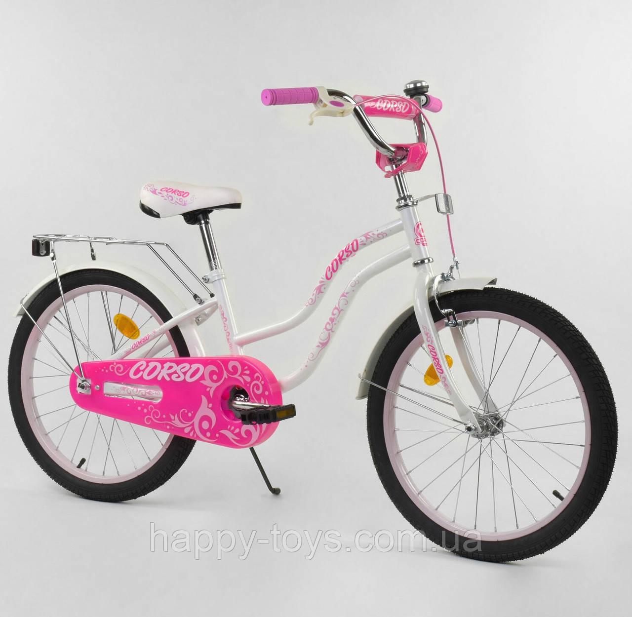 """Велосипед 20"""" дюймов 2-х колёсный CORSO БЕЛЫЙ, ручной тормоз, багажник, собранный на 75% Т-07504"""