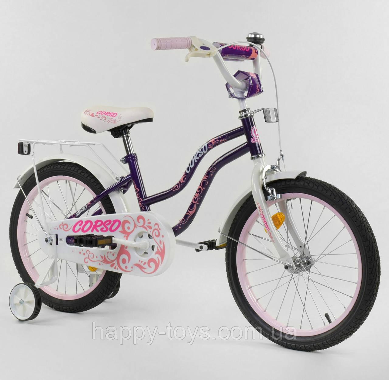 """Велосипед 18"""" дюймов 2-х колёсный """"CORSO"""" ФИОЛЕТОВЫЙ, ручной тормоз, доп. колеса, собранный на 75% Т-85234"""