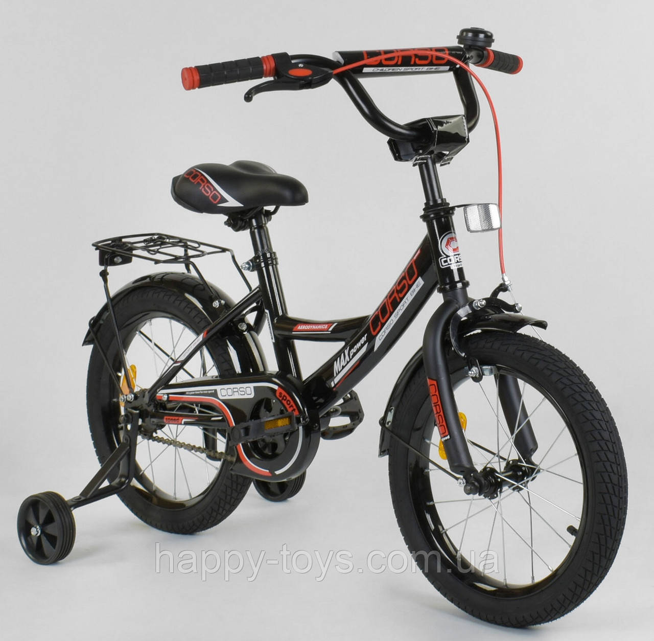 """Велосипед 16"""" дюймов 2-х колёсный CORSO ЧЁРНЫЙ, ручной тормоз, доп. колеса, собранный на 75% CL-16 P 4482"""