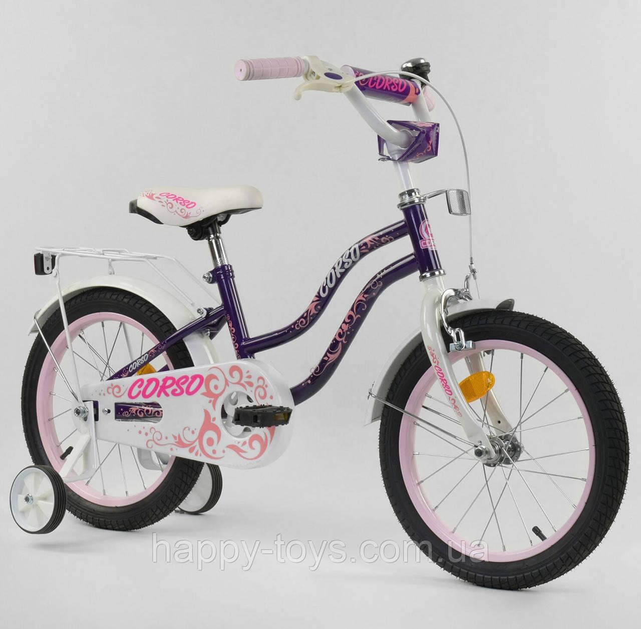 """Велосипед двухколёсный CORSO 16"""" ФИОЛЕТОВЫЙ, ручной тормоз, звоночек, доп. колеса, собранный на 75% Т-21255"""