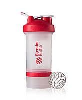 Шейкер для спортивного питания Blender Bottle ProStak 22oz 650ml Прозрачный с красным