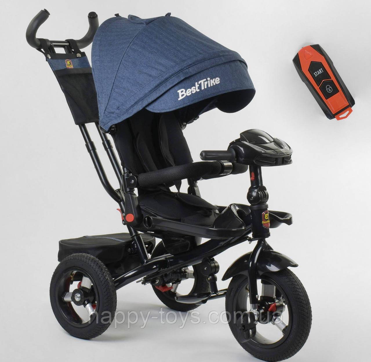 Велосипед 3-х колёсный, цвет СИНИЙ, Best Trike, фара с USB, пульт, надувные колеса, звук русский 6088 F-09-504