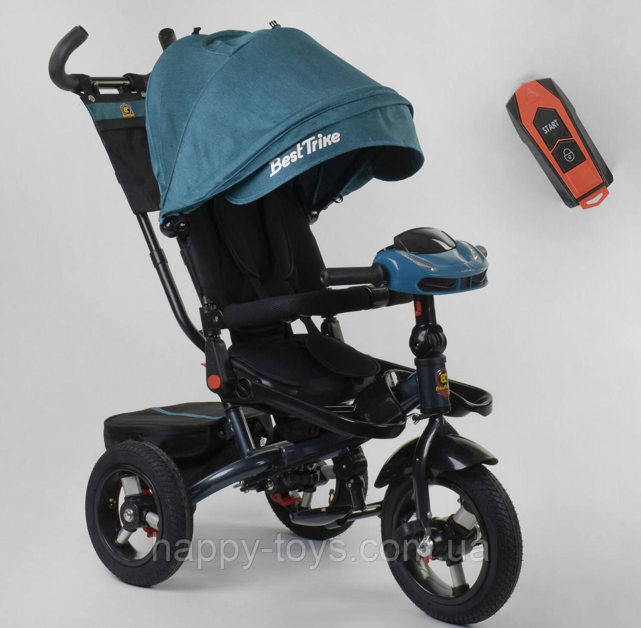 Велосипед 3-х колёсный, БИРЮЗОВЫЙ, Best Trike, фара с USB, пульт, надувные колеса, звук русский 6088 F-02-940