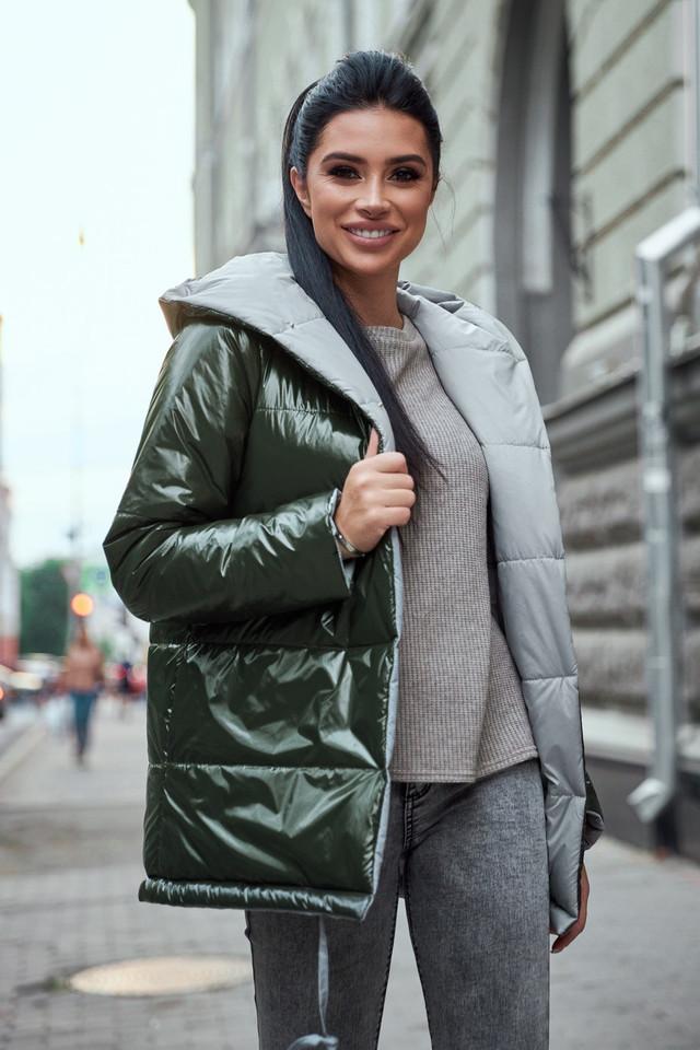 Женская куртка  демисезонная двухсторонняя с капюшоном хаки плащёвка