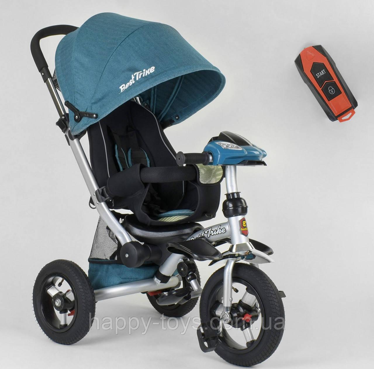 Велосипед 3-х колёсный Best Trike, БИРЮЗОВЫЙ, фара с USB, ручка телескопическая, пульт 698 / 30-505