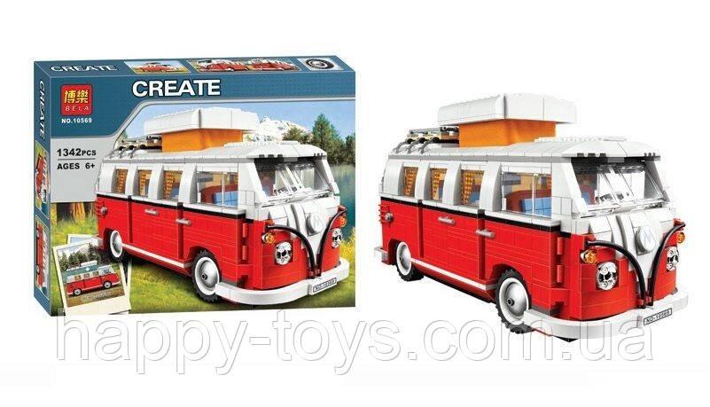 Конструктор Микроавтобус 1342 детали, в коробке Bela 10569