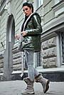 Женская куртка  демисезонная двухсторонняя с капюшоном хаки плащёвка, фото 3