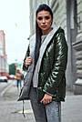 Женская куртка  демисезонная двухсторонняя с капюшоном хаки плащёвка, фото 4