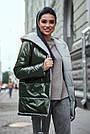 Женская куртка  демисезонная двухсторонняя с капюшоном хаки плащёвка, фото 2