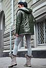 Женская куртка  демисезонная двухсторонняя с капюшоном хаки плащёвка, фото 5