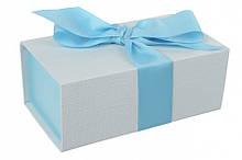 Итальянская подарочная коробка бело-голубая (18*10 см)