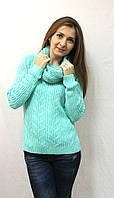 Теплый женский вязаный свитер с хомутом Турция