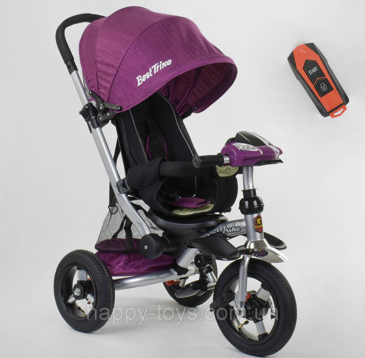 Велосипед 3-х колёсный Best Trike, ФИОЛЕТОВЫЙ, фара с USB, ручка телескопическая, пульт 698 / 35-266