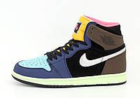 """Кроссовки кожаные мужские высокие Nike Air Jordan """"Разноцветные"""" р. 41-45, фото 1"""