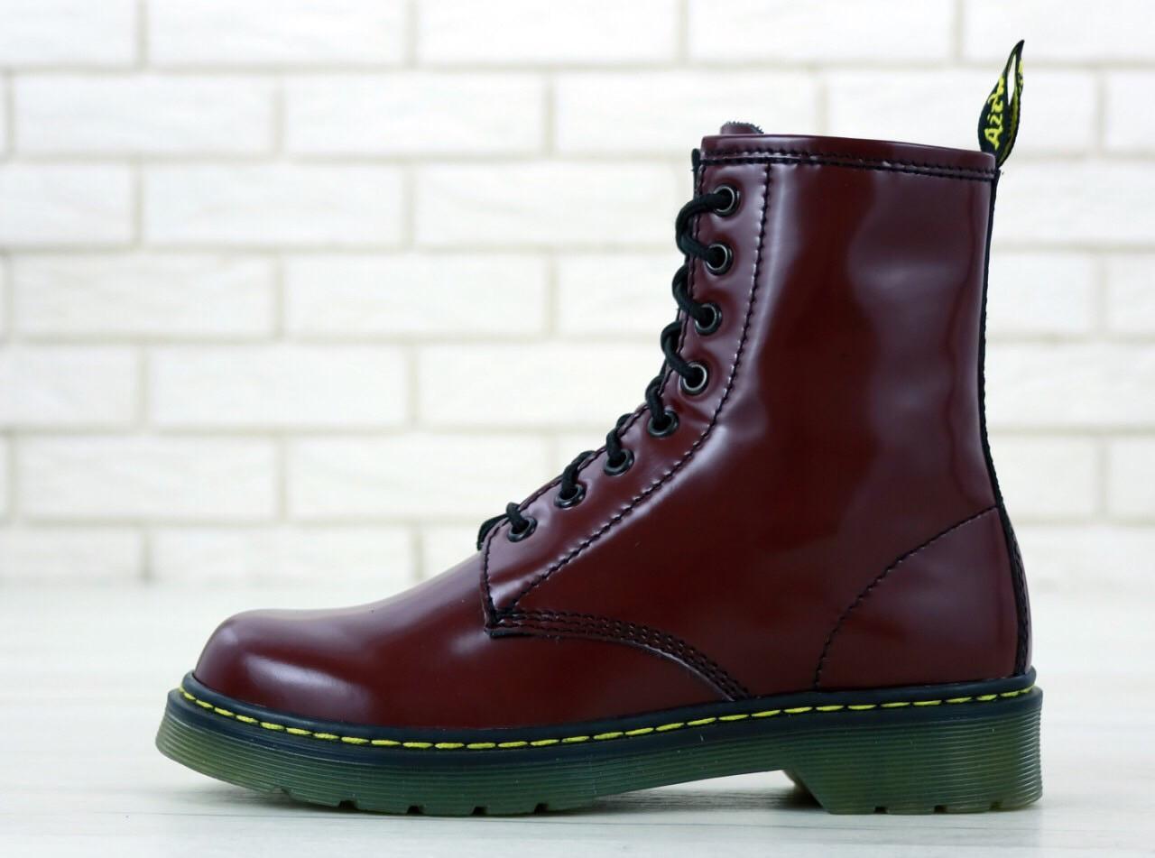 Женские ботинки Dr.Martens (bordo), бордовые мартенсы, женские мартенс (Реплика ААА)